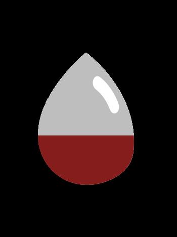 blood drop half blood half iron
