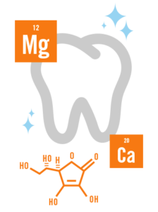illustration of shiny tooth, magnesium, and calcium
